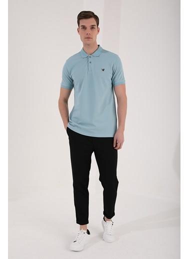 Tommy Life Buz Mavi Erkek Basic Gögüs Logolu Standart Kalıp Triko Polo Yaka T-Shirt - 87768 Mavi